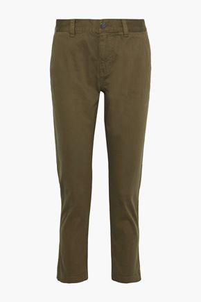 CURRENT/ELLIOTT The Confidant cropped stretch-cotton straight-leg pants