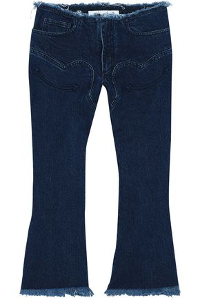 MARQUES' ALMEIDA Frayed embroidered mid-rise kick-flare jeans