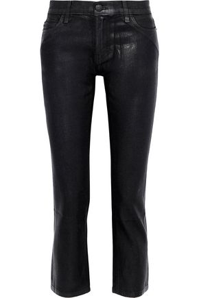CURRENT/ELLIOTT The Cropped coated mid-rise straight-leg jeans