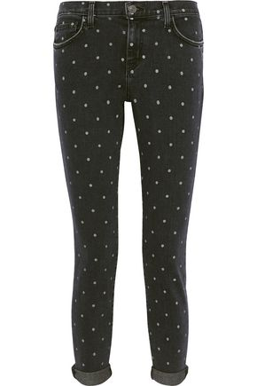 CURRENT/ELLIOTT The Easy Stiletto polka-dot mid-rise skinny jeans