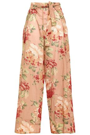 ZIMMERMANN Belted floral-print cotton wide-leg pants