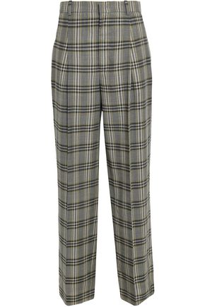 JOSEPH Checked virgin wool wide-leg pants