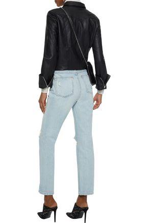 ALEXANDERWANG.T Cult distressed high-rise straight-leg jeans