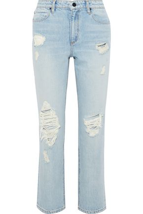 ALEXANDERWANG.T Cult distressed high-rise straight-leg jeans