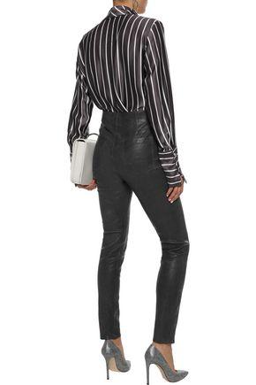 J BRAND Natasha button-detailed leather skinny-leg pants