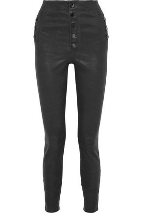 J BRAND Natasha button-detailed leather skinny-leg pants