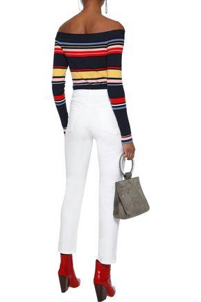 FRAME Le Boy distressed high-rise slim-leg jeans