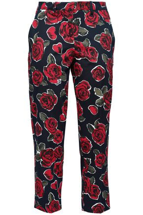 LOVE MOSCHINO Croped floral-print stretch-cotton twill straight-leg pants
