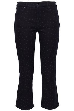 LOVE MOSCHINO Printed mid-rise kick-flare jeans