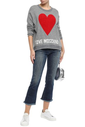 LOVE MOSCHINO Cropped embellished mid-rise bootcut jeans