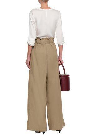 ZIMMERMANN Belted cotton-blend gabardine wide-leg pants