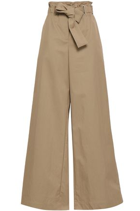 ZIMMERMANN Belted cotton-blend gabardine wide-leg pants
