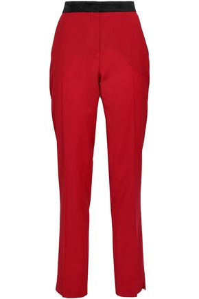 DEREK LAM Silk satin-trimmed wool-blend slim-leg pants