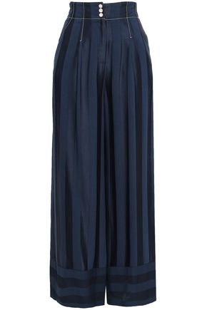 TEMPERLEY LONDON Sail Boat striped jacquard wide-leg pants