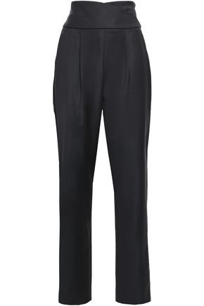 TEMPERLEY LONDON Element satin-trimmed wool-blend twill tapered pants