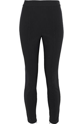 ALEXANDER WANG Cropped zip-detailed stretch-knit leggings