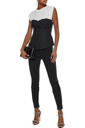 ALEXANDER WANG Cropped zip-detailed stretch-knit leggings