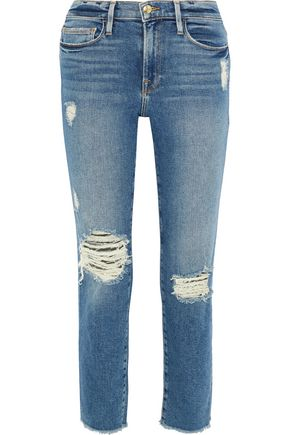 FRAME Le Nouveau cropped distressed mid-rise straight-leg jeans