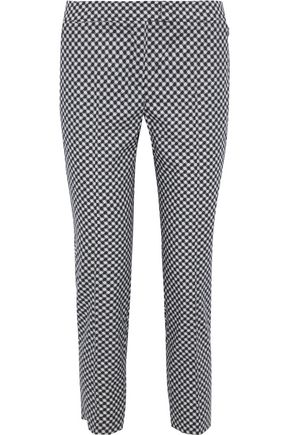 AKRIS Cropped printed cotton-blend tapered pants