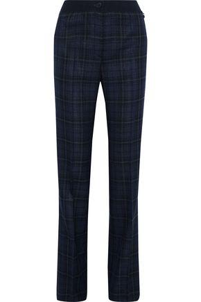 AKRIS Checked silk and cotton-blend straight-leg pants