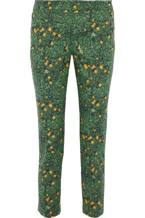AKRIS Frances cropped floral-print stretch-cotton slim-leg pants