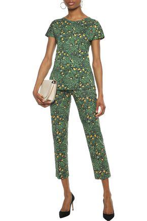 AKRIS Frances cropped floral-print stretch-cotton slim-leg pants