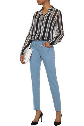 AKRIS Magda cotton-blend slim-leg pants