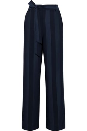 IRIS & INK Mariah striped satin-jacquard straight-leg pants