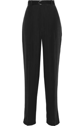 JOSEPH Belted washed-silk straight-leg pants