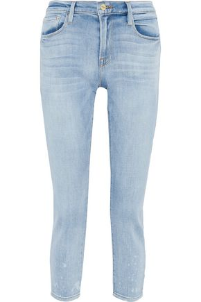 FRAME Le Garçon cropped bleached high-rise skinny jeans