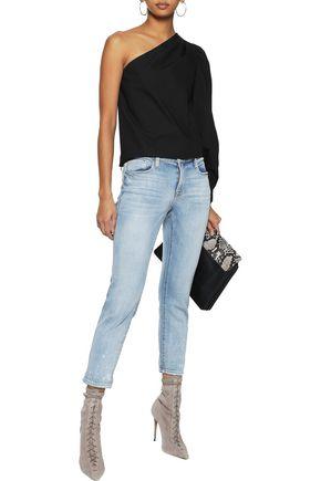 FRAME Le Garçon cropped bleached high-rise skinny jeans