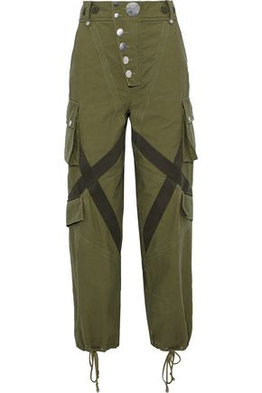 ALEXANDER WANG Appliquéd washed cotton-canvas tapered pants