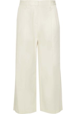 ROBERTO CAVALLI Cropped cotton-blend twill wide-leg pants
