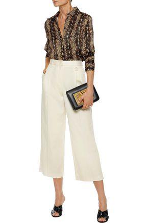 ROBERTO CAVALLI Cropped cotton-blend twill wide-leg pants