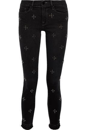 FRAME Le Skinny de Jeanne studded mid-rise skinny jeans