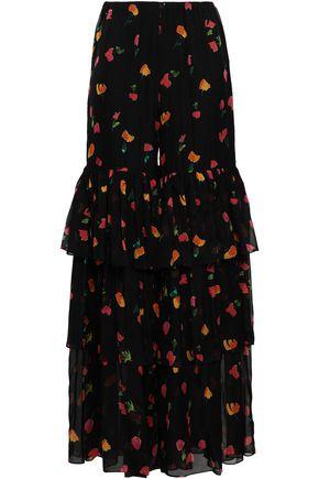 CAROLINE CONSTAS Tiered floral-print silk-chiffon wide-leg pants