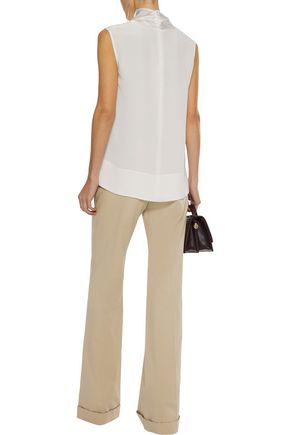 DEREK LAM Stretch cotton-faille wide-leg pants
