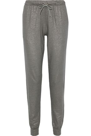 MAJESTIC FILATURES Metallic linen-blend track pants