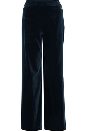 TEMPERLEY LONDON Opus button-embellished cotton-blend velvet wide-leg pants