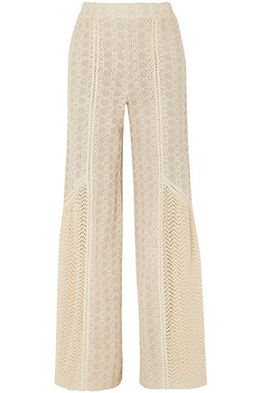 JONATHAN SIMKHAI Crocheted cotton-blend and gauze wide-leg pants