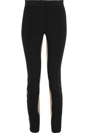 DEREK LAM Twill-trimmed crepe slim-leg pants
