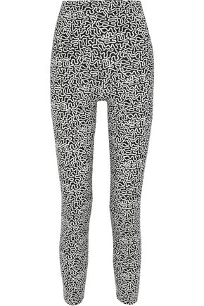 NORMA KAMALI Cropped printed stretch-jersey leggings