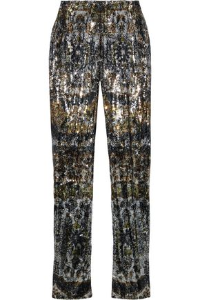 MARY KATRANTZOU Sequined tulle slim-leg pants
