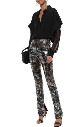 Mary Katrantzou Woman Sequined Tulle Slim-Leg Pants Gold