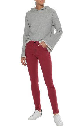 J BRAND Maria striped mid-rise skinny jeans