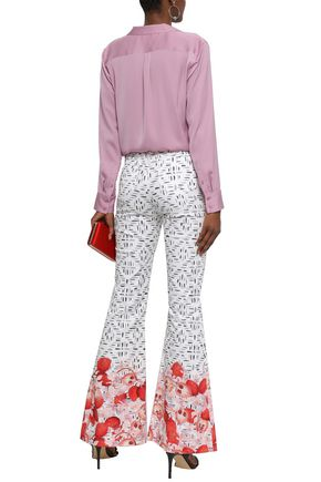 ISOLDA Printed cotton-blend flared pants