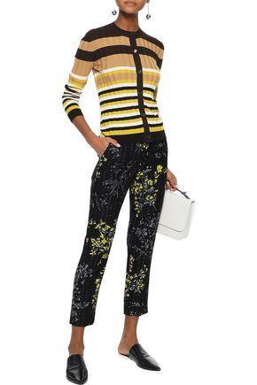 MARNI Cropped floral-print wool and silk-blend slim-leg pants