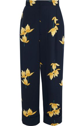 MARNI Cropped floral-print crepe wide-leg pants