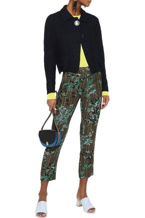 MARNI Cropped floral-print wool and silk-blend slim-leg pants