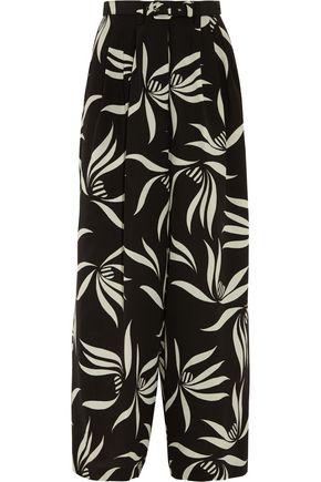 ETRO Belted printed silk-crepe wide-leg pants